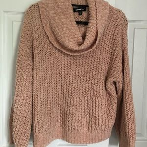 Express knitted cowl neck sweater in pale pink